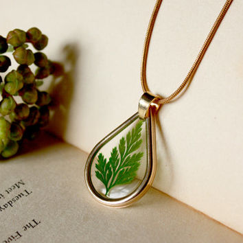 Dried Leaf Necklace, Green Leaf Fern Necklace, Cool Jewelry, Pressed Flower Necklace, Real Flower Necklace, Cool Necklace,Tear Drop Necklace