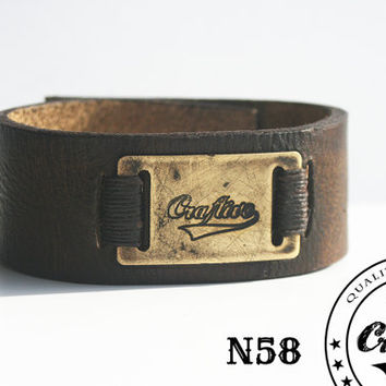 FREE SHIPPING - Leather Bracelet with Handmade Craftive Aluminium Buckle -  Wristband Cuff -  Made to Fit - Perfect for merchandising