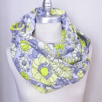 Infinity Scarf, Circle Scarf, Large Floral Print Fabric, Flourescent Green, Neon Yellow, Gray Flowers, Loop Scarf, Mobius Scarf