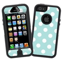"White Polka Dot on Mint ""Protective Decal Skin"" for Otterbox Defender iPhone 5 Case"