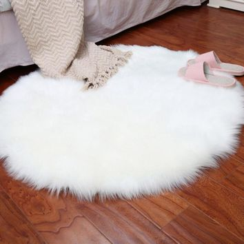 Bedroom Mat Seat Pad Skin Fur Area Rugs Warm Artificial Textile Soft Sheepskin Rug Chair Cover Artificial Wool Warm Hairy Carpet