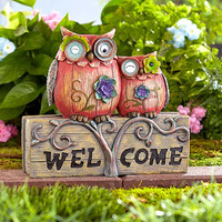 Welcome Statue Owl Frog Ceramic Garden Porch Lawn Yard