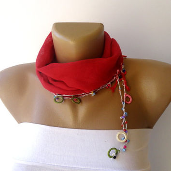 New Summer chic scarf , summer accessory , headwrap // bandana //  headband // red scarves