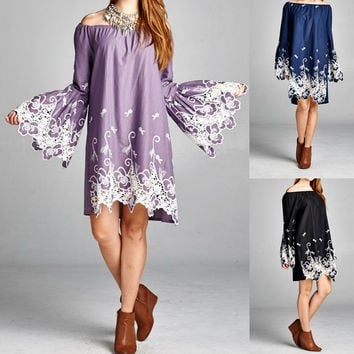 Eliza Bella Boho Embroidered Big Bell Sleeves Dress / Blouse Plus Size