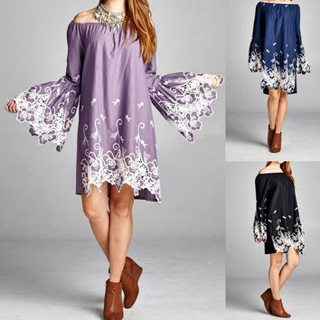 Eliza Bella Boho Embroidered Big Bell Sleeves Dress / Blouse SML