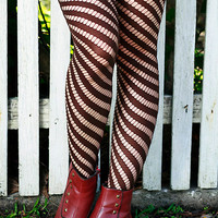 Brown Black Beige & Khaki Hand Dyed Diagonal Striped Nylon Stockings Tights Size 10-12