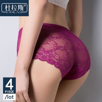 4pcs/lot Lace Panties Women Underwear Seamless Transparent Briefs for Girls Package Hip Mid-Rise Waist Panty Sexy Silk Panties