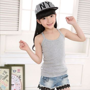 Kids Solid Candy Color 100% Cotton Children's Summer Tops Clothes Sleeveless Shirts Tanks Camisoles Vest For Children Boys Girls