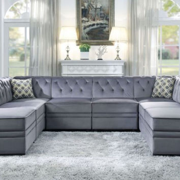 Acme ACM-53305-06-07-8PC 8 pc Bois II gray velvet modular sectional sofa with storage ottomans