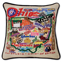 Ohio Hand Embroidered Pillow