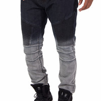 Biker Denim Fade Out Slim Fit Denim Jeans