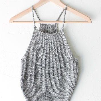 Knit Sweater Crop Tank Top - Heather Grey