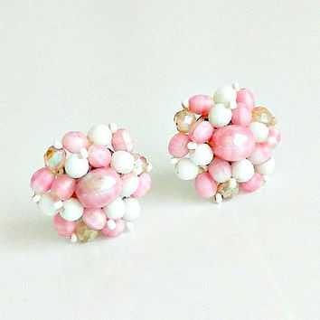 West German Cluster Earrings, 1940s Vintage Pink & White Beaded Earrings, White and Pink Milk Glass Clip On Earrings, AB Crystal Beads.