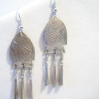 Vintage Etched Fish Dangle Earrings Wire Hook Ocean Sea Life Jewelry Fashion Accessories For Her