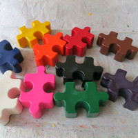 Large Puzzle Pieces Crayon Set of 10