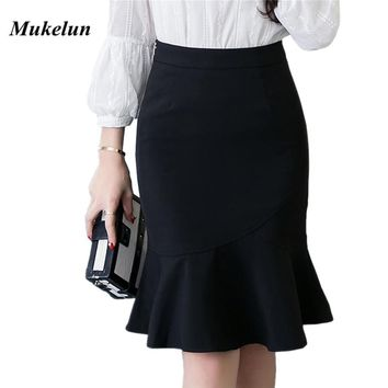 S-5XL 2018 Women Pencil Skirt Fashion OL Slim Bodycon Business Wear Ruffles Hem Mermaid Style Plus Size Ladies Office Skirt