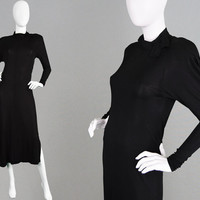 Vintage 80s JEAN MUIR Black Jersey Dress Art Deco Style Loose Waist Dress 1980s Designer Long Black Dress Dolman Sleeve Viscose Rayon London
