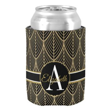 Chic Black and Faux Gold Art Nouveau Monogram Can Cooler