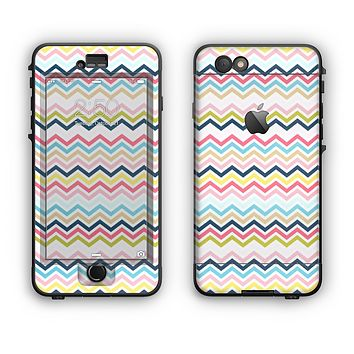 The Multi-Lined Chevron Color Pattern Apple iPhone 6 Plus LifeProof Nuud Case Skin Set