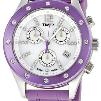 Timex Women's T2N8329J Originals Sport Chronograph Crystal Accents Purple Strap Watch