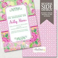 Lilly Pulitzer Inspired Birthday Invitation - Printable Invite Birthday Parties