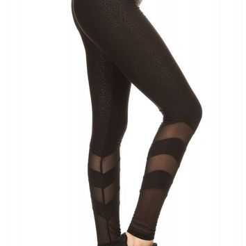 Abstract Mesh Panel Leggings