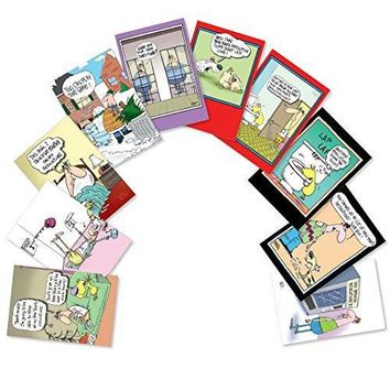 Assorted Boxed of 10 'New Year's Punch Lines' Humorous New Year Cards with Envelopes - Variety Box of Funny Greeting Card Designs - Happy Holidays & Seasons Greetings w/Comic Jokes
