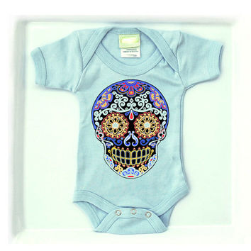 Skull Tattoo Bodysuit Trendy Baby Boy Clothes 3, 6, 12, 18 month. Shower Gift Day of the Dead Toddler shirt pastel blue cotton. Cute creeper