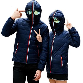 Windproof Down Quilted Jackets With Glasses