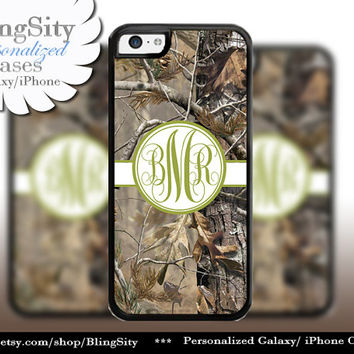 Camo Green Olive Monogram iPhone 5C 6 Plus Case iPhone 5s 4 case Ipod Realtree Cover Personalized real tree camo Country Inspired Girl