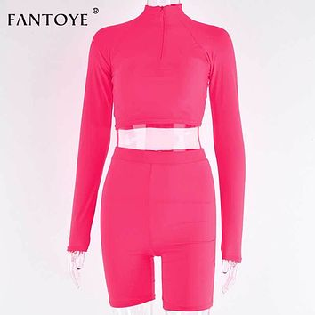 Fantoye Two Piece Set Fluorescent Green Top Shorts Suit Sexy Turtleneck Long Sleeve