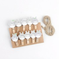 10pcs Kawaii Cute Wooden Mini Small Clip My Neighbor Totoro Photo Paper Postcard Craft DIY Clips with Hemp Rope Office Supply