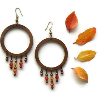 extra large wood hoop earrings // swarovski crystal beaded jewelry