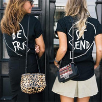 "SIMPLE - BEST FRIEND ""BE FRI"" ""ST END"" Printed Cotton Short Sleeve T-Shirt a11129"