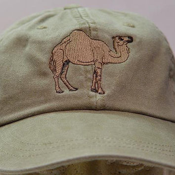 CAMEL HAT - One Embroidered Wildlife Cap - Price Embroidery Apparel - 24 Color Caps Available