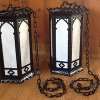 Antique PAIR Mission Arts and Crafts Large Pendant Hanging Church Light early 1900s. Gothic