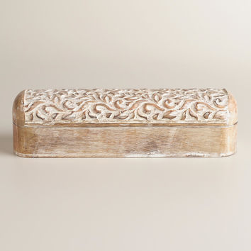 Whitewash Hand-Carved Wood Pencil Box - World Market