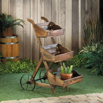 Rustic 3 Tier Farmer's Market Wood Crates On Wheels Plant Stand