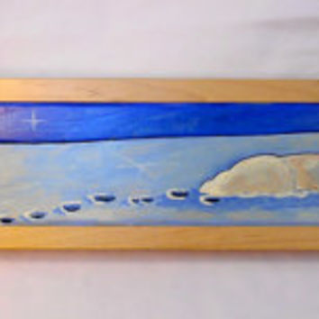Oil Painting of a Lamb Lying in the Snow, Oil Painting Lamb, Winter Farm Scene, Winter Birch Trees, Blue Oil Painting