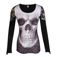 Fashion NEW Women T-Shirt  Lace Patchwork O-Neck Skull Printed Sexy Tops Tee Shirt S-5XL LJ8464E