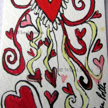 Valentines card Wild Hearts aceo unique art c