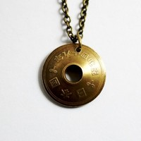 Japanese Coin Necklace Domed 5 Yen Pendant
