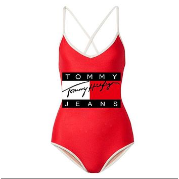 Tommy Summer Fashion New Letter Print Straps One Piece Bikini Swimsuit