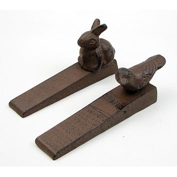 Cast Iron Bird & Rabbit Door Stop