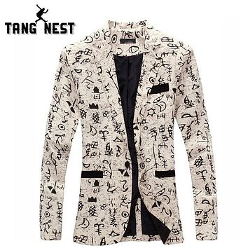 Costume Home Personality Casual Slim Men Blazer Fashion Blazer Men Floral Blazer