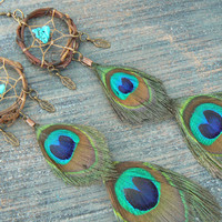 PAIR dangle peacock feather dreamcatcher earrings turquoise peacock  in native american inspired  tribal boho belly dancer and hipster style