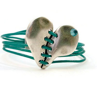 Valentine's Day, Silver Heart and Turquoise Leather Women's Bracelet, Magnetic Clasp, Turquoise Leather Bracelet, Multi Strands
