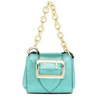 Burberry Soft Grain Metallic Micro Buckle Tote Charm Emerald