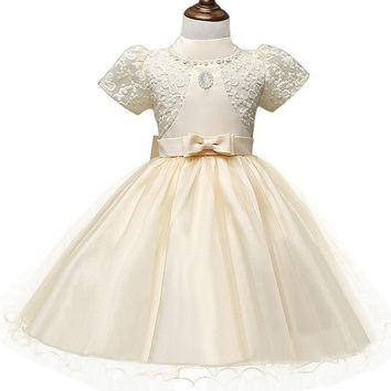 Vintage Royal Princess Girl Dress Lace Christening Gown Tutu Birthday Christmas Dresses For Girls Clothes Kids Costume Clothing