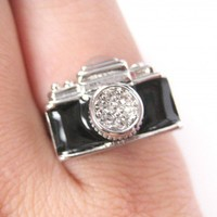 Adjustable Camera Ring in Black on Silver - With Rhinestone Detail
